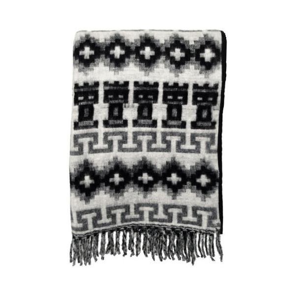 "Alpaca Wool Throw Blanket 58"" X 72"" Black & Gray Geometric Peru"