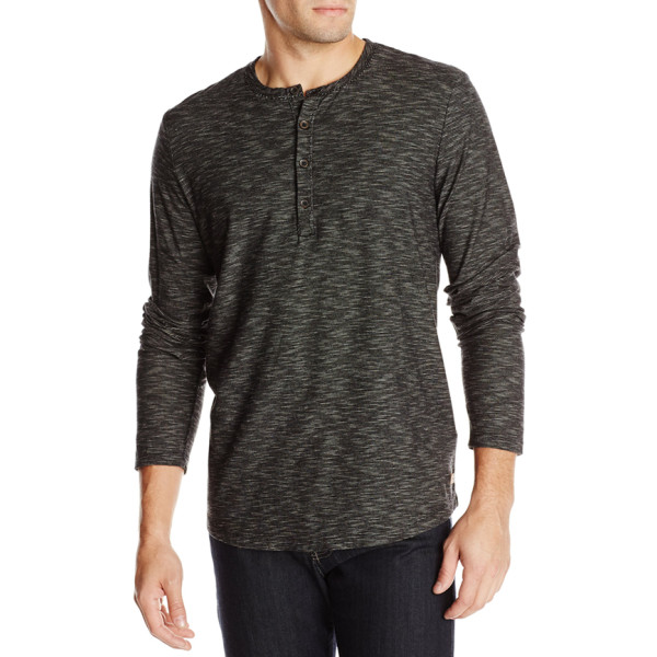 7 For All Mankind Men's Striped Henley Shirt, Heather Black