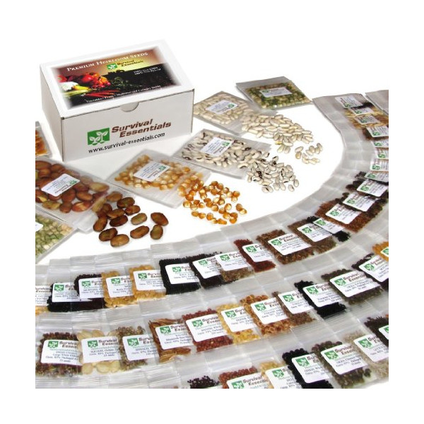135 Variety Organic Heirloom Survival Seed Bank - Emergency Seed Vault - Non GMO - Non Hybrid - ALL IN ONE: Vegetables - Fruits - Culinary Herbs - Medicinal Herbs - Sprouting Seeds ~ 135 VARIETIES - PLUS: Nine Rare Heirloom Tomato Varieties FREE! - FANTAS