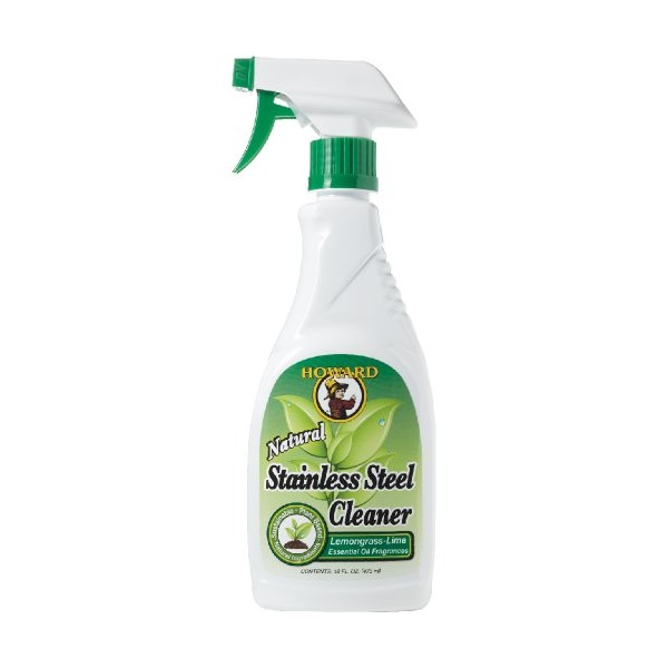 Howard Products SS5012 Natural Stainless Steel Cleaner Trigger Spray, Lemongrass-Lime, 16-Ounce