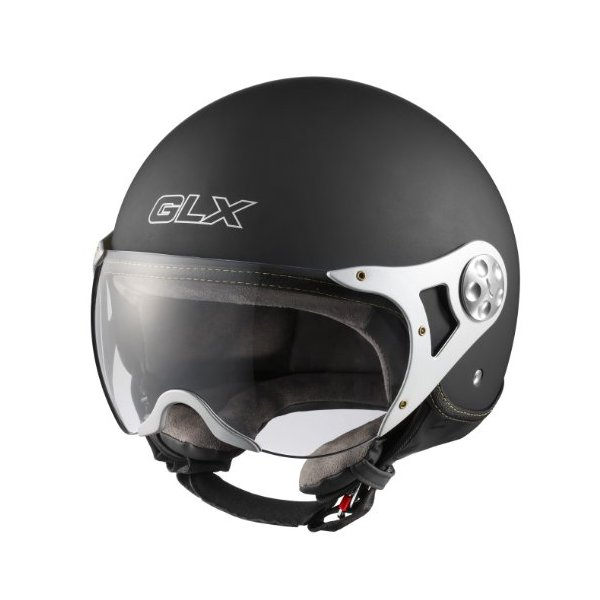 GLX Copter Style Open Face Motorcycle Helmet (Matte Black, Medium)