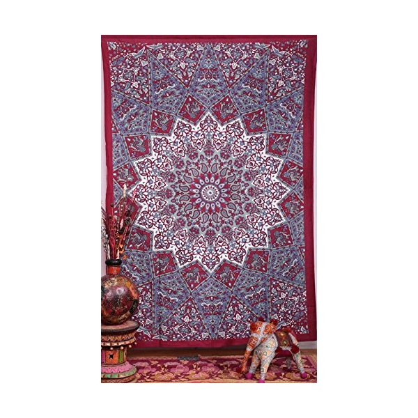 Handicrunch Twin Bed Dorm Decor , Psychedelic Tapestry , Sun and Moon Tapestry,star Mandala Tapestries, Twin Hippie Star Tapestries , Throw Bedspread