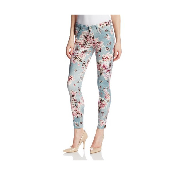 7 For All Mankind Women's Ankle Skinny Jean with Contour Waistband 28 Inch In Victorian Floral, Victorian Floral, 32