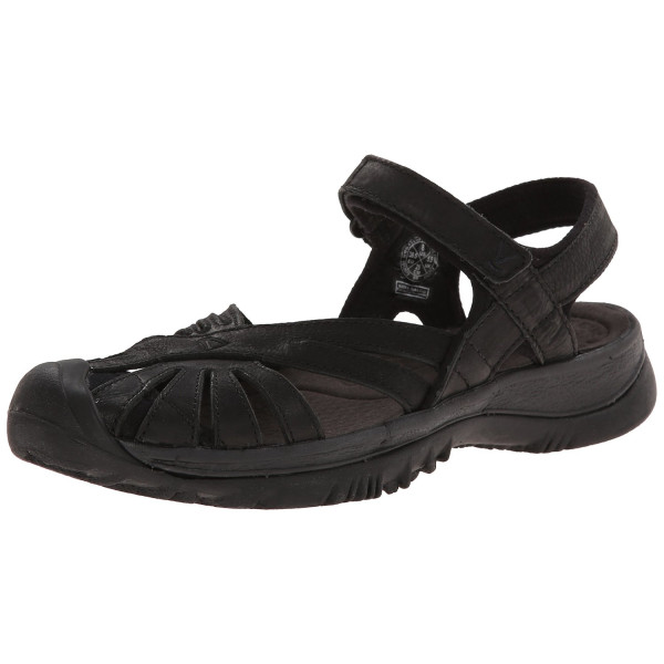 KEEN Women's Rose Leather Sandal, Black/Raven, 9 M US