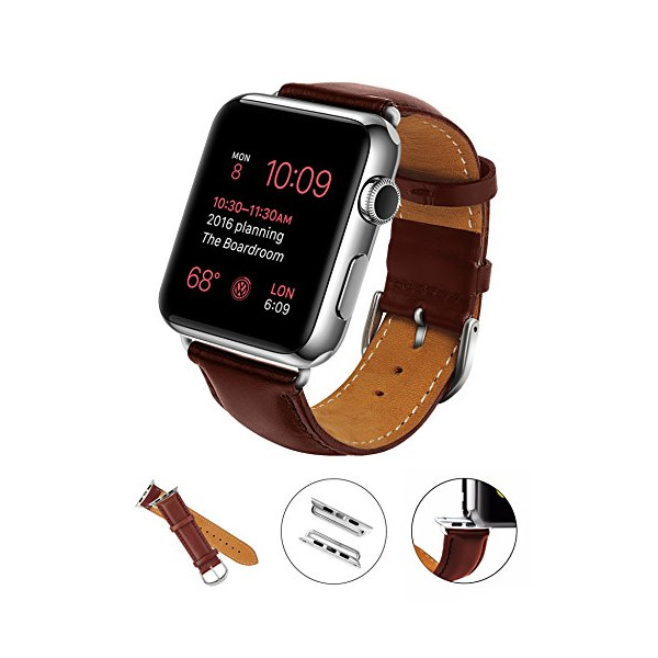 Apple Watch Band, LoHi® 38mm iWatch[100% Genuine Leather]Replacement Watch Strap Wrist Band with Metal Clasp for Apple Watch & Sport & Edition (38mm-Brown)