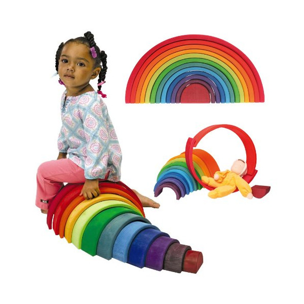 Grimm's Extra Large 12-Piece Rainbow Stacker - Wooden Nesting Puzzle/Building Blocks