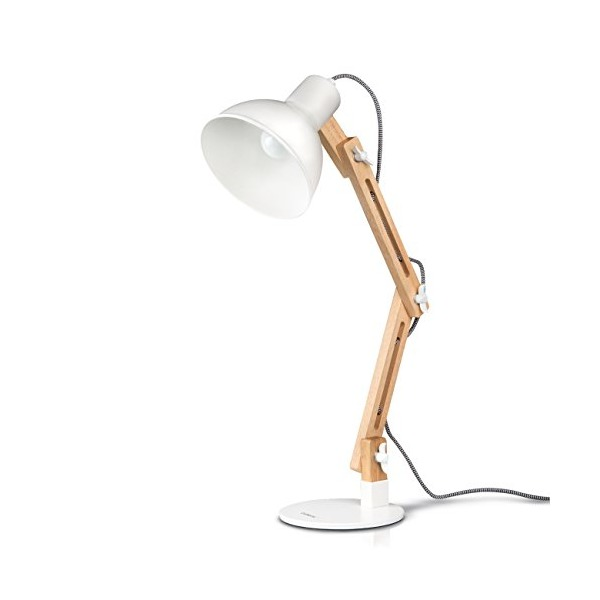 Tomons Wood Swing Arm Desk Lamp, Adjustable Wood Table Lamp, Reading Lamp, Study Lamp, Work Lamp, Office Lamp, Bedside nightstand Lamp - White