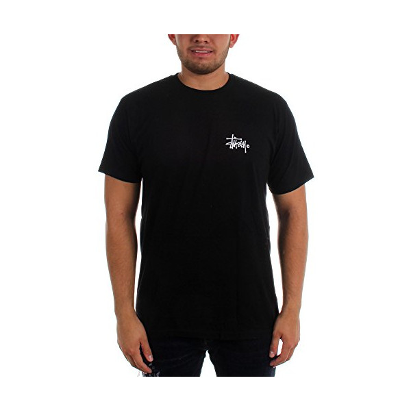 Stussy Mens Basic Logo Short-Sleeve Shirt Large Black