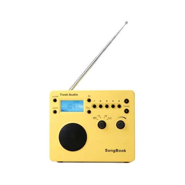 Tivoli Audio SongBook AM / FM Alarm Clock Travel Radio, Yellow