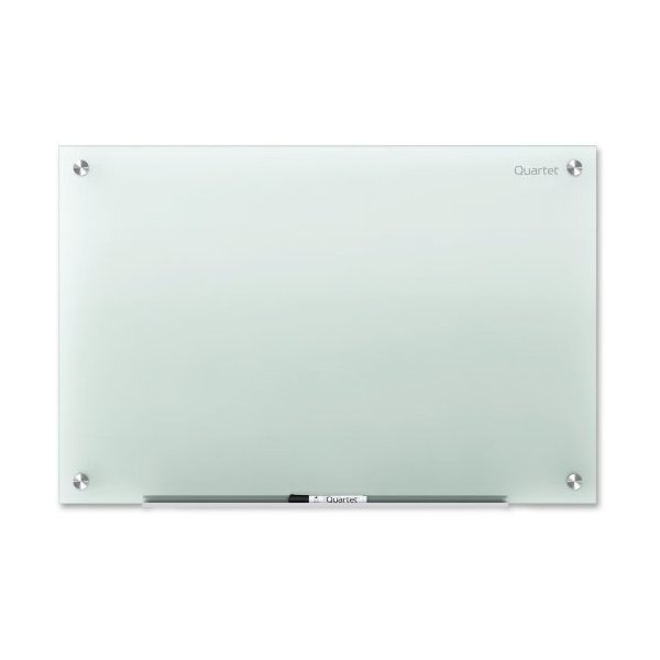 "Quartet Infinity Glass Marker Board - 72"" Width x 48"" Height - Frost Tempered Glass Surface - Frame - Film - Wall Mount - 1 Each"
