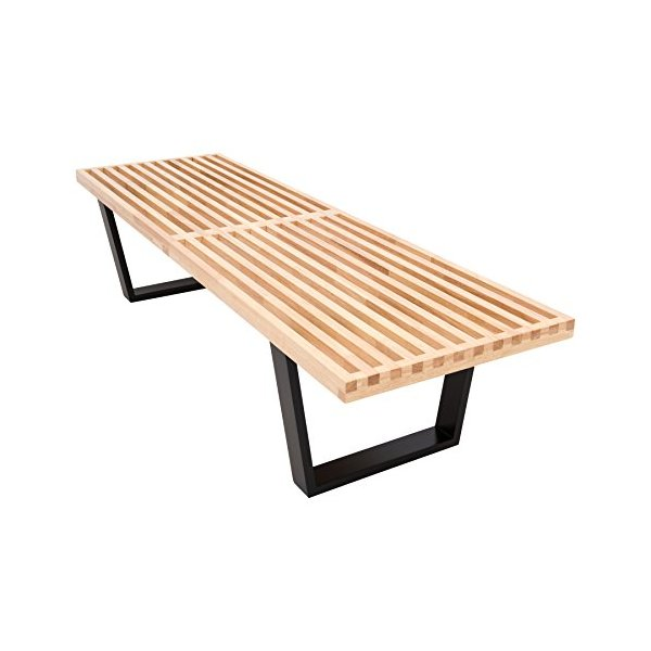 LeisureMod Mid-Century George Nelson Style Platform Bench in 5 Feet (Natural Wood)