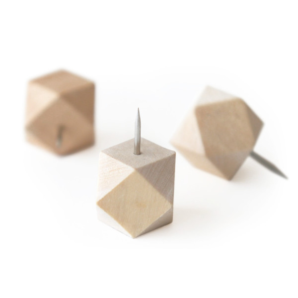 Original Wood Gem Push Pins, Geometric Faceted Thumb Tacks
