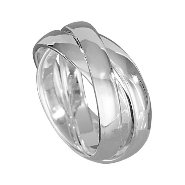 "VINANI brand Germany 925 Sterling Silver Triple Band Ring (Three Band Ring) for Women size 10"" (19.7) R3R62"