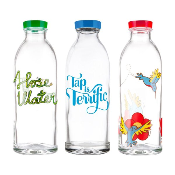Classic Design Value Pack - 3 Reusable Glass Water Bottles by Faucet Face, 14.4 Oz.