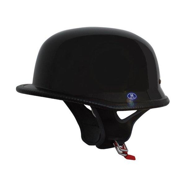 German Motorcycle Half Helmet DOT Low Profile Black 115 (XXL)