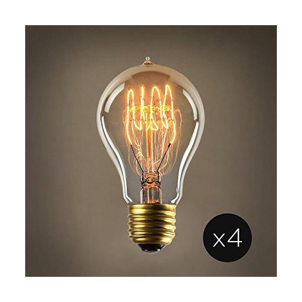Set of 4 Coney Island A19 Vintage Filament 40W (E26) Bulbs