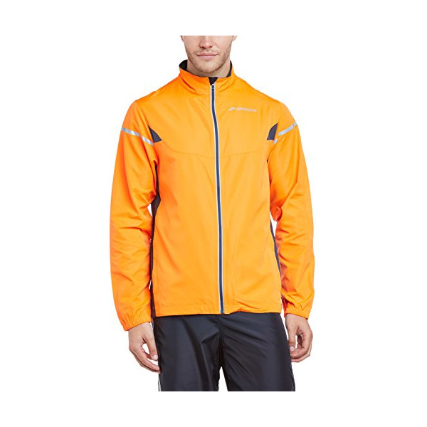 Brooks Men's Essential Jacket IV, Color: Brite Orange/Anthracite, Size: L