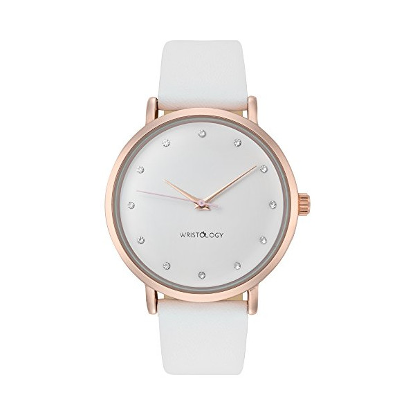WRISTOLOGY Olivia Womens Chunky Rose Gold Boyfriend Watch White Leather Strap