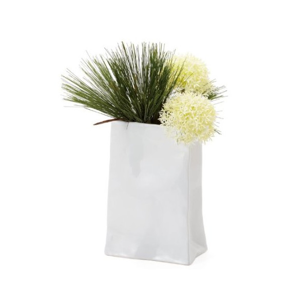 Torre and Tagus Paper Bag Ceramic Vase, Short, White