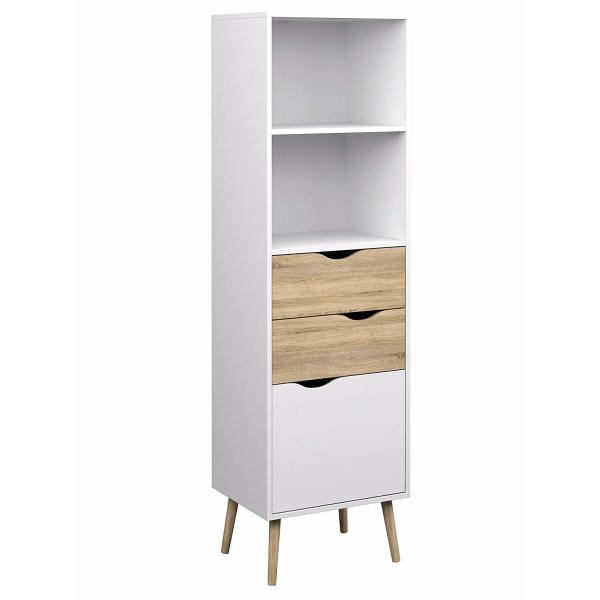 Tvilum Diana Bookcase with 2 Drawer and 1 Door, White Oak