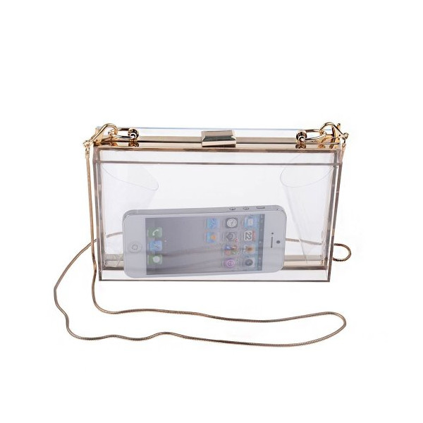 PrettyGuide Transparent Acrylic Perspex Clutch Clear Handbag Transparent