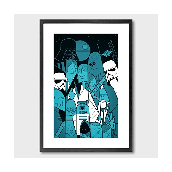 Star Wars by Ale Giorgini // Unique, Original Wall Art // 11.7 x 16.5 inches / 30 x 42cm // Framed and Ready To Hang // Custom Printed On 240gsm Premium Art Paper and Framed By Hand In a Beautiful Black Wooden Frame // Best Art For Home or Office // 100%
