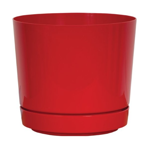 Dynamic Design SD0612RX Hi Gloss 6-Inch Poly Planter with Attached Saucer, Red Pop