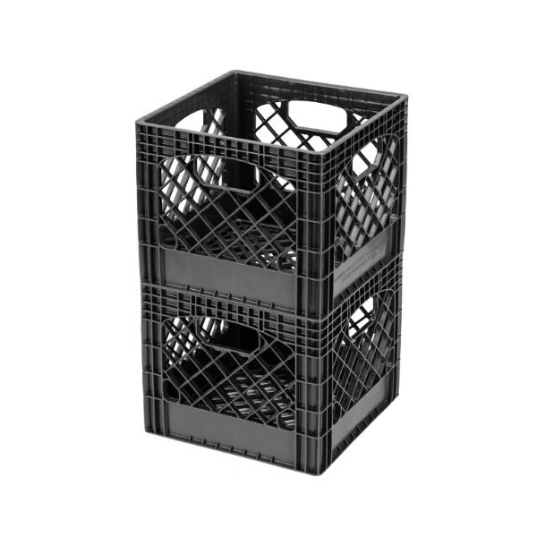 Buddeez MC01016BLK Milk Crates, 16-Quart, Black, 2-Pack
