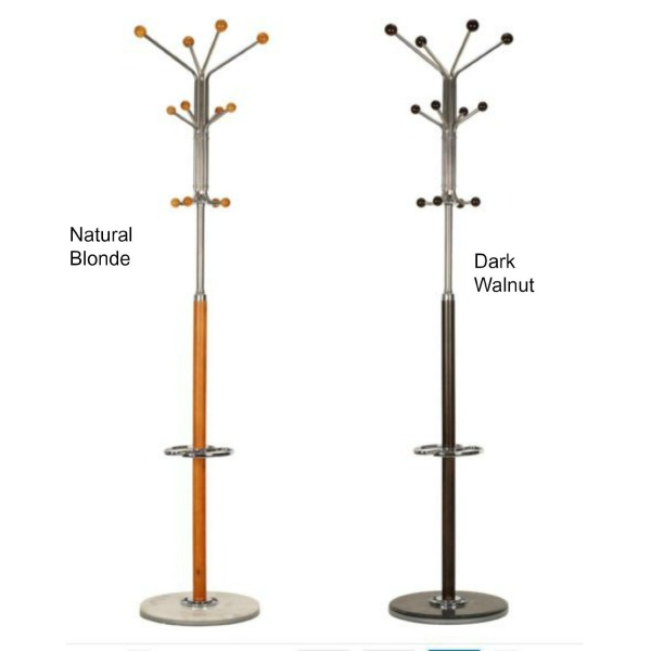 "Light Oak or Dark Walnut Modern Coat Rack. Sturdy, Functional Color Complimenting Marble Pedestal Base. Able to Hold Multiple Clothing, Hats, Umbrellas and Bags. 2 Umbrella Holder Stands, 22"" H. 4 Lower Hooks 42"" H, Perfect for Kids / Children. 10 Upper P"