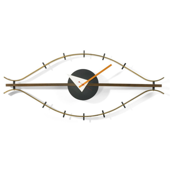 George Nelson Wood Eye Clock, Brass/Brown