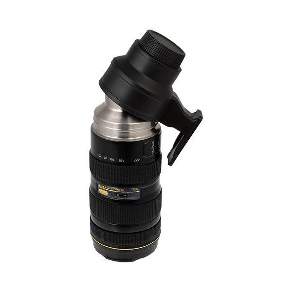 Thermo Lenscup, Stainless Steel Insulated, Travel Thermos w/ Cup (Modeling Nikkor AF-S 70-200mm f/2.8G ED VR II Lens), 16oz