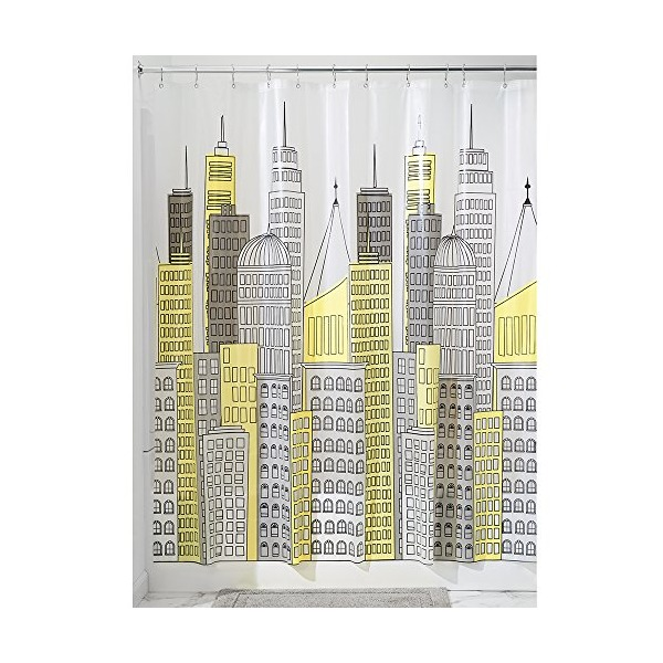 "InterDesign Metropolitan Shower Curtain, 72 x 72"", Yellow/Gray"