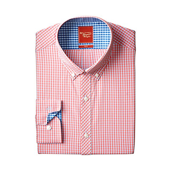 Original Penguin Men's Slim Fit Gingham, Tea Rose, 15.5-34/35