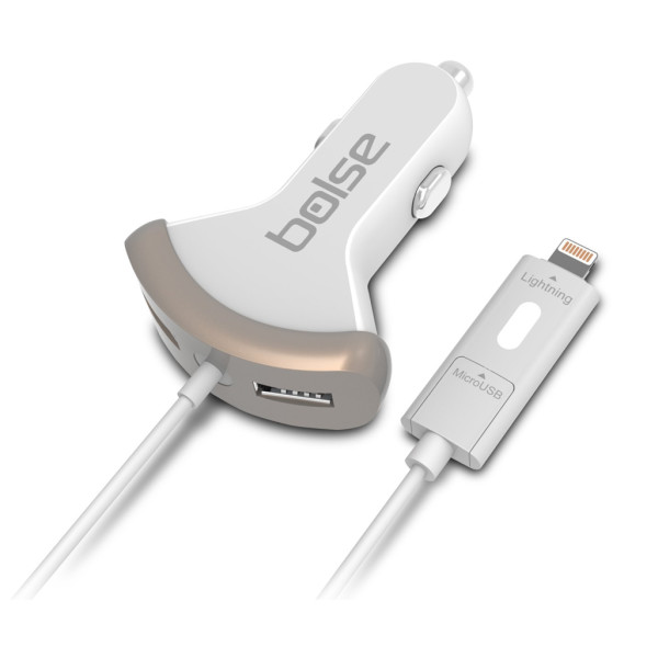 Bolse® 3-Port (25W / 5A) High Output USB Car Charger