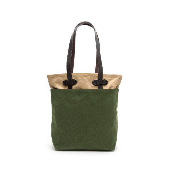 Filson Medium Canvas Tall Tote, Green/Tan
