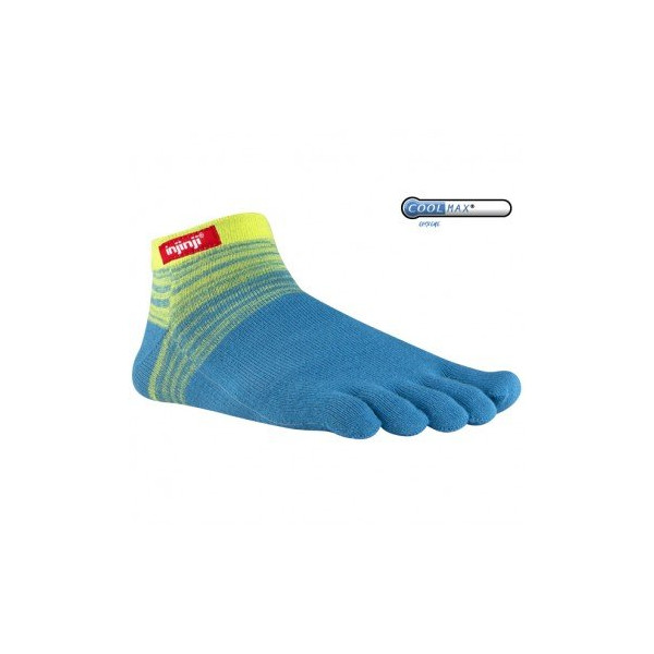 injinji Sport Original Weight Micro Coolmax Socks, Medium, Neon Yellow Aqu