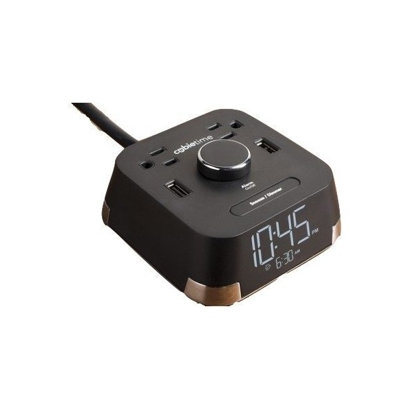 CubieTime Alarm Clock Charger w/ 2 USB Ports and 2 Outlets Charging Station