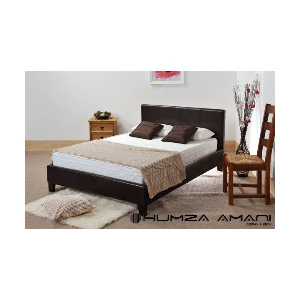 Humza Amani Wood & Metal Prado Faux Leather Bed in Black 4FT6 Double Size, 144 x 203 x 89 cm, 2-pieces, Black