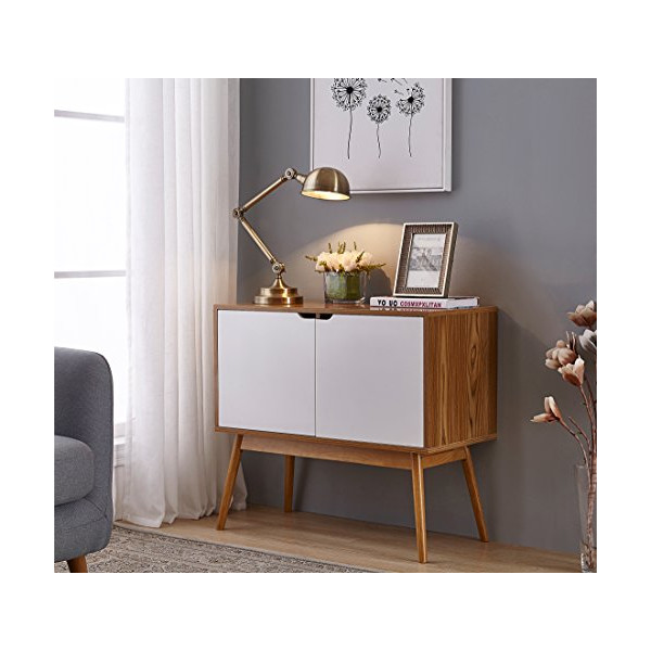 White/Woodgrain Mid-Century Style Console Sofa Table Storage Cabinet Sideboard with 2 Doors