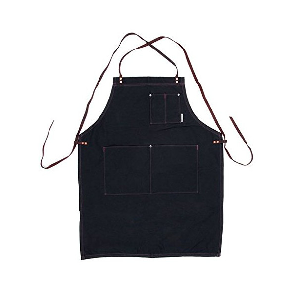 Iron And Resin Waxed Canvas Apron - Black