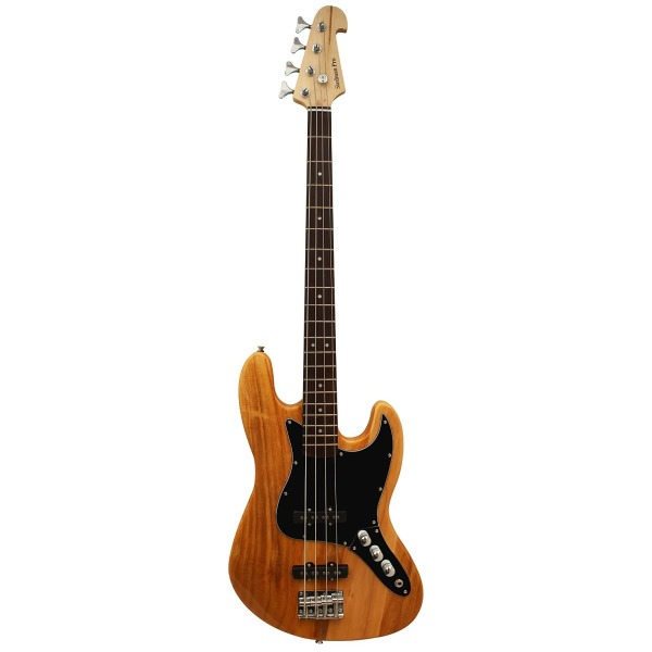 Electric Bass Guitar Jazz Bass Style, Rosewood Fingerboard - Natural Wood
