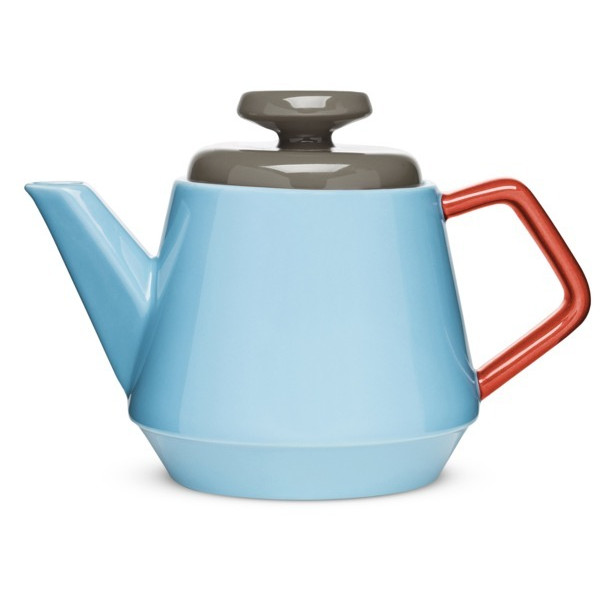 Sagaform POP Stoneware Teapot, Turquoise/Red/Brown