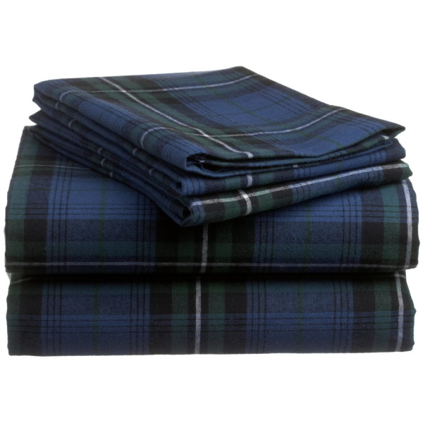 Pinzon 160-Gram Yarn-Dyed 100-Percent Cotton Flannel Sheet Set, Twin, Blackwatch Plaid