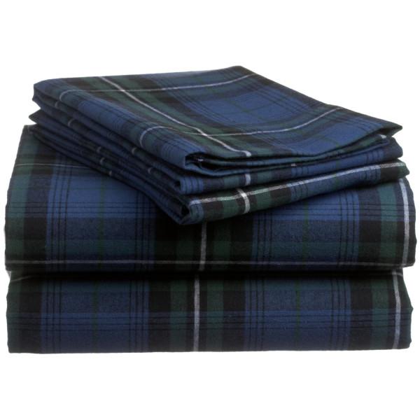Pinzon 160-Gram Yarn-Dyed 100-Percent Cotton Flannel Sheet Set, Twin, Blackwatch Plaid