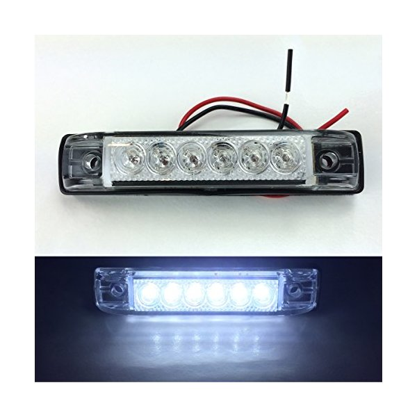 "2 LONG HAUL BRIGHT CLEAR/WHITE LED SLIM LINE LED 12V 12 VOLT UTILITY STRIP LIGHTS 6 LEDS 4""x1"" RVS MARINE BOATS"