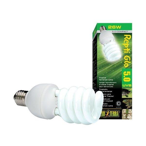 Exo Terra Repti-Glo 5.0 Compact Fluorescent Tropical Terrarium Lamp, 26-Watt