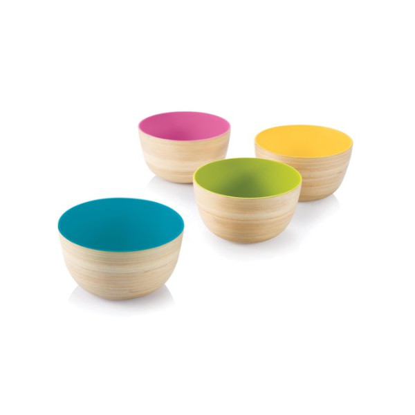 Bambu Mini Me 'Outside In' Lacquerware Bowls, Set of 4
