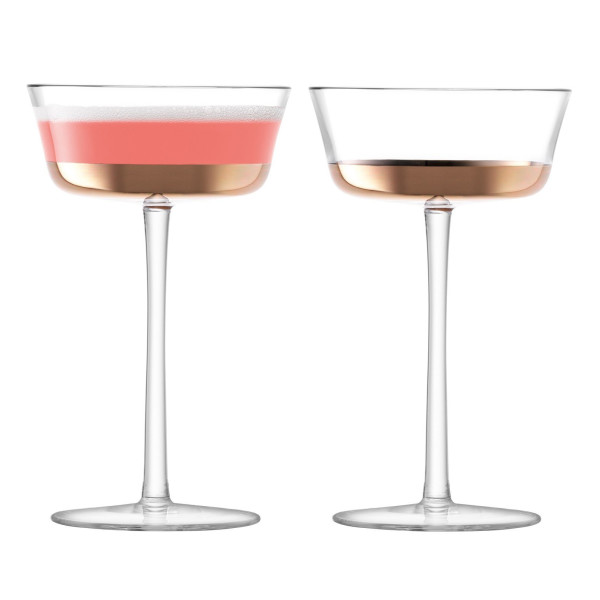 LSA International Edge Champagne Saucer, Set Of 2, Rose Gold