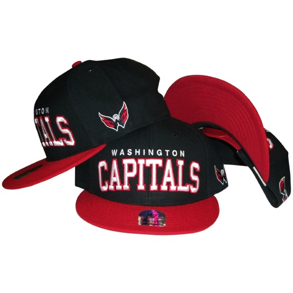 Washington Capitals Black/Red Two Tone Snapback Adjustable Plastic Snap Back Hat / Cap