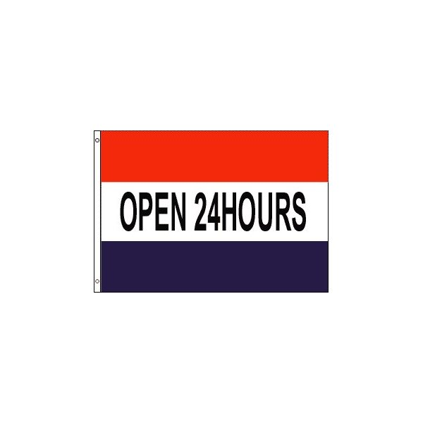 Open 24 Hours Banner Flag (3 x 5 Feet)